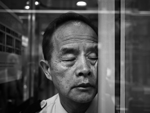 Hard knock life of a security guard, Tsim Sha Tsui East - Hong Kong
