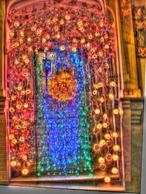 Christmas Door Lights HDR