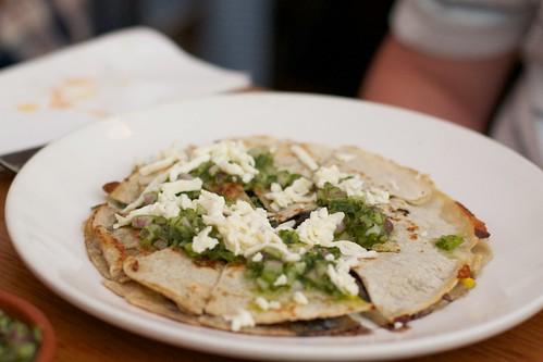vegetarian quesadilla de huitlacoche