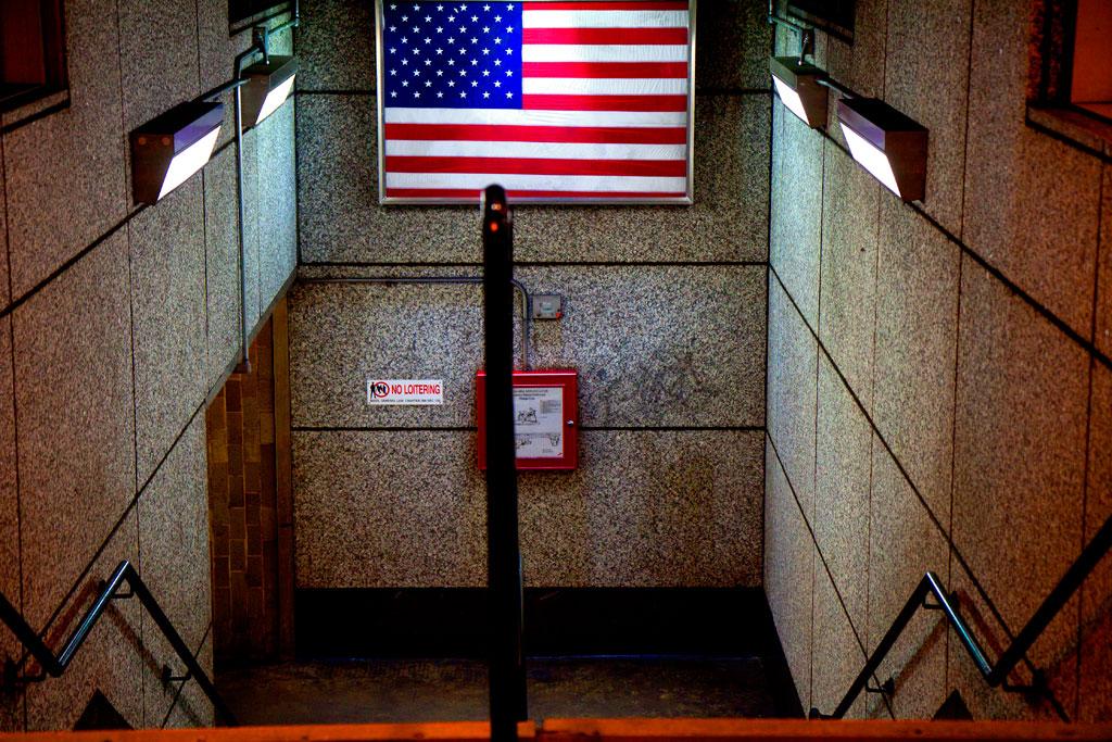 Flag-at-subway-station--Boston
