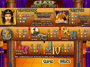 free Cleo Queen of Egypt Slots slot payout