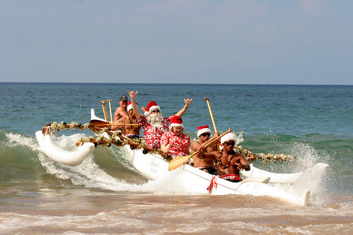 The Fairmont Kea Lani Santa on Outrigger Canoe