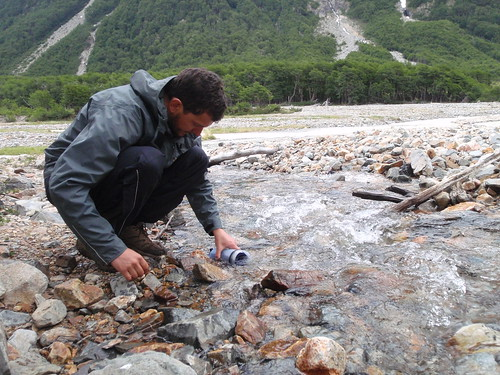 Refilling the LifeSaver bottle from mountain stream