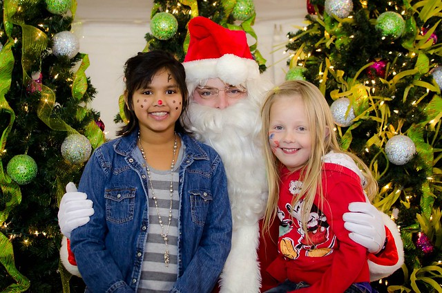 the girls with santa
