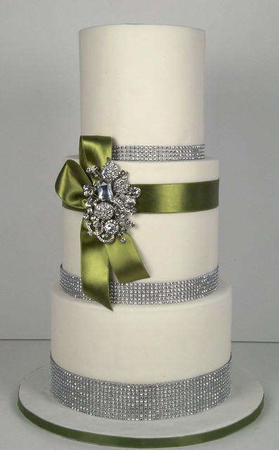 bling wedding cake toronto A 3 tier white fondant wedding cake with