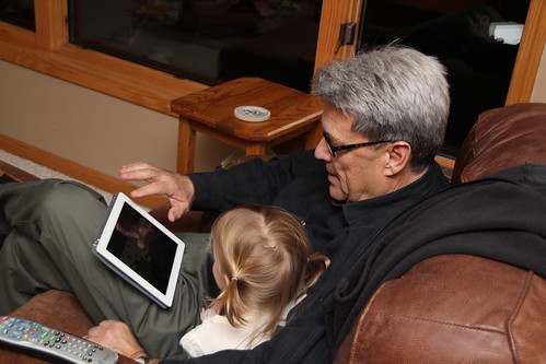 Trying Grandpa's new iPad
