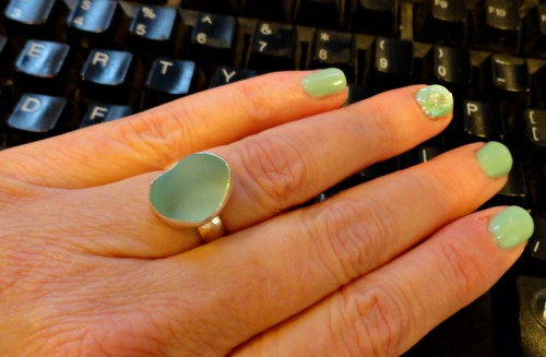 Atomic aqua sea glass ring!