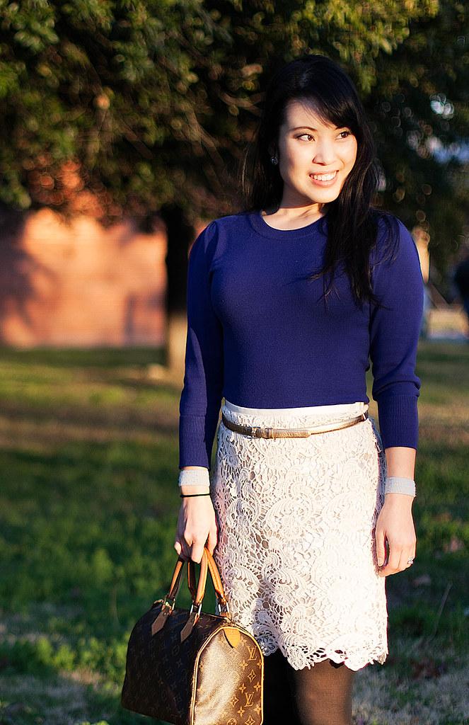 forever 21 royal blue sweater, forever 21 lace pencil skirt, ann taylor gold skinny belt, dkny opague black tights, tory burch reva flats, louis vuitton speedy 25 purse