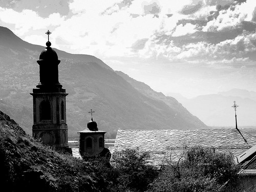 blackandwhite bw mountains alps church monochrome alpes switzerland cross suisse noiretblanc nb belltower église sion valais croix montagnes clocher mygearandme rememberthatmomentlevel1