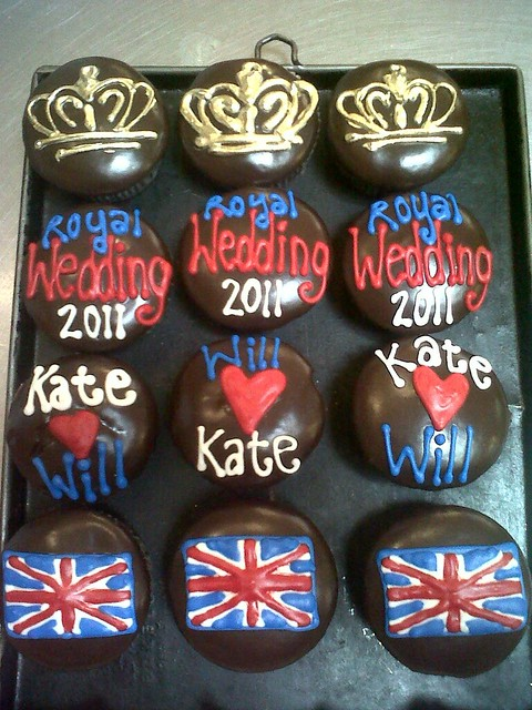 Wicked Chocolate cupcakes decorated with piped Royal Wedding themed decor