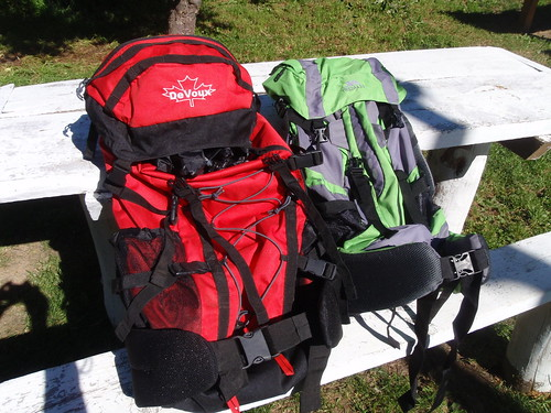 The backpacks we bought in Coyhaique