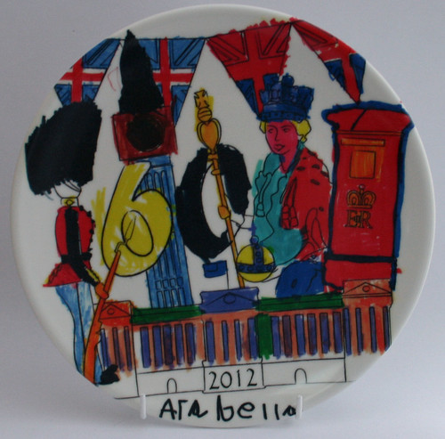 Queen's Diamond Jubilee kids art on a plastic plate
