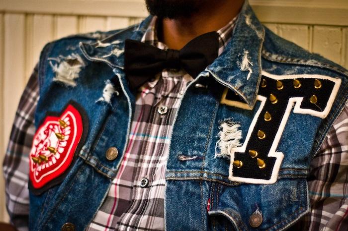 denim vest bow tie