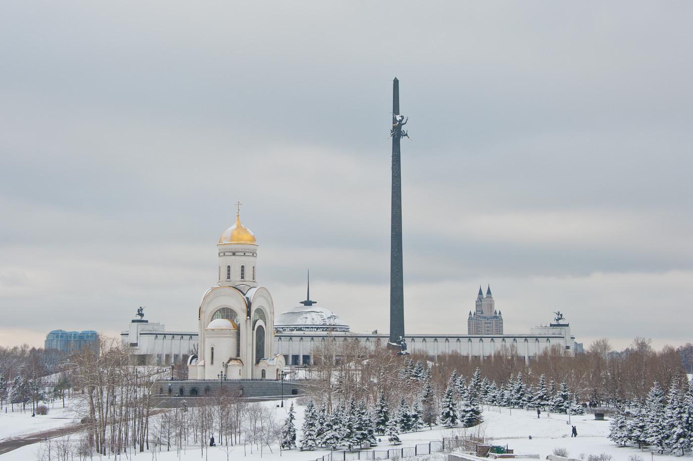 поклонная гора в москве зимой фото