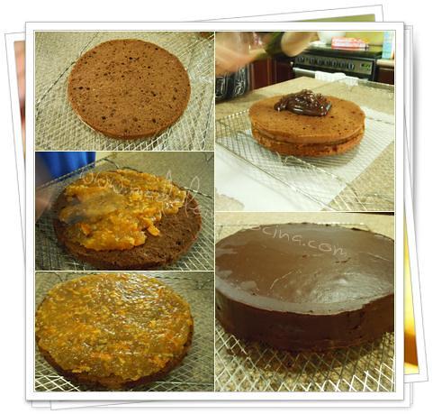 Armando el pastel de chocolate