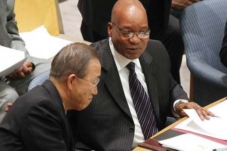 United Nations Secretary General Ban Ki-moon with Republic of South Africa President Jacob Zuma as the Southern Africa state takes on the presidency of the Security Council in New York. Zuma blasted the UN for its role in the war against Libya. by Pan-African News Wire File Photos