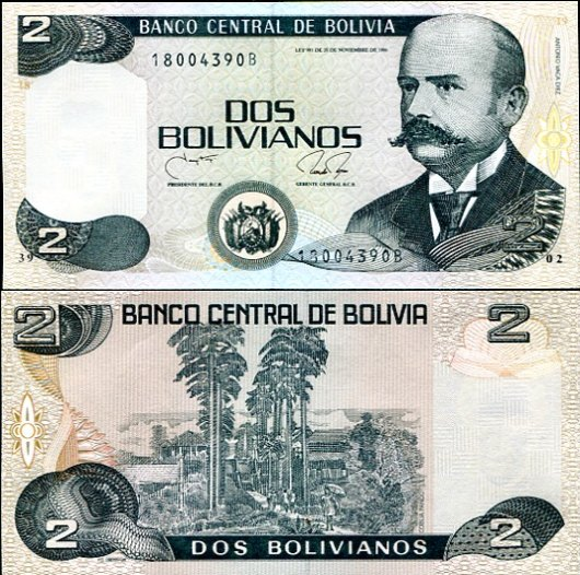 2 Bolivianos Bolívia 1987-9, Pick 202