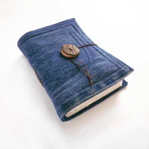 handmade journal blue denim jeans, recycled, stitched, fabric