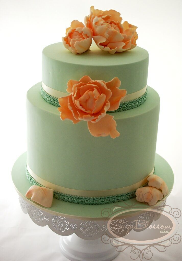 wedding cake peach and mint green vintage mint amp peony wedding cake flickr photo 23392