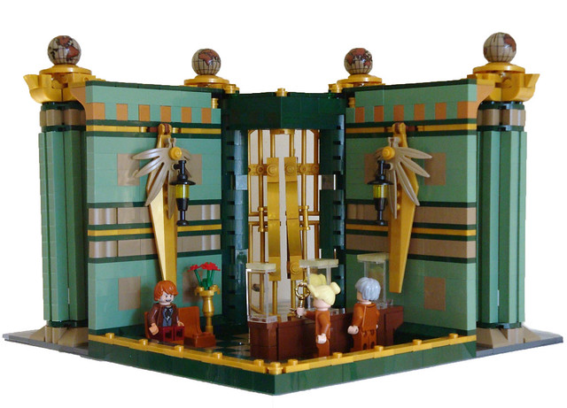 LEGO Modular Bank - the back walls can be detached to show internal view