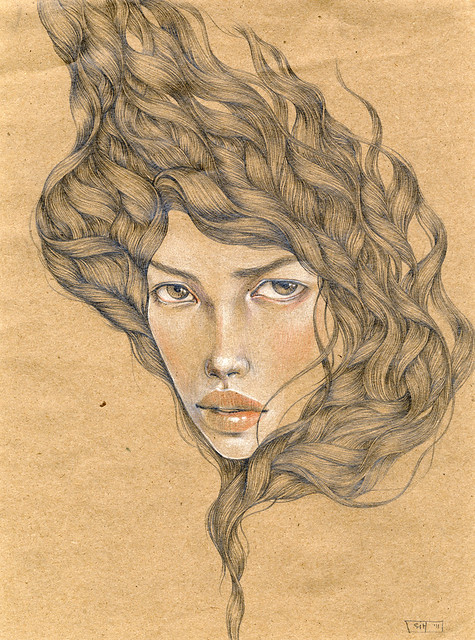 Untitled 3. Graphite & Colored Pencil on Brown Paper. © 2011.