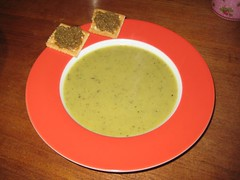 Leek soup & toast with green olive tapenade