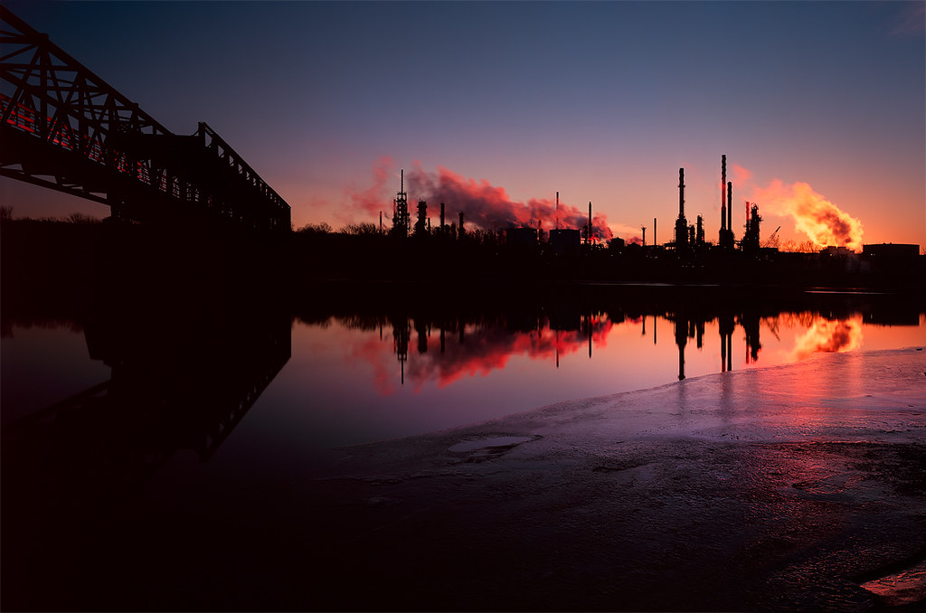 Newport, MN oil refinery at sunset