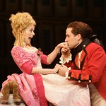 Lydia Languish (Cheryl Lynn Bowers) pledges her love to Captain Jack Absolute (Scott Ferrara), but surprises await her about his true identity in the Huntington Theatre Company's production of