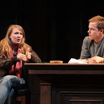 Emily (Halley Feiffer, l.) defends her mother's stellar academic career to Woodson Bull III (Graham Hamilton) in the Huntington Theatre Company's production of Third by Wendy Wasserstein, playing at the BU Theatre, part of the 2007-2008 season. Photo: T. Charles Erickson