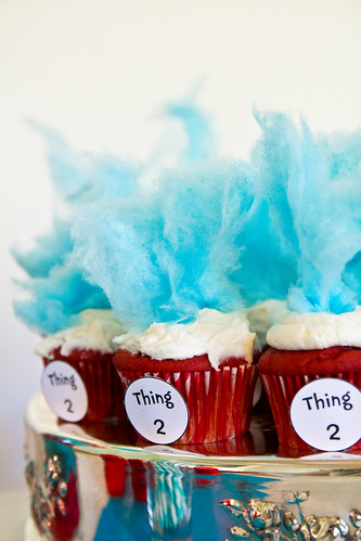 Dr. Seuss Thing 1 and Thing 2 Cupcakes
