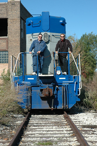 Eddie K (left) and Anthony C posing on an abandoned Chicago Rail Link locomotive. Chicago Illinois USA. Saturday, October 15th, 2011. by Eddie from Chicago
