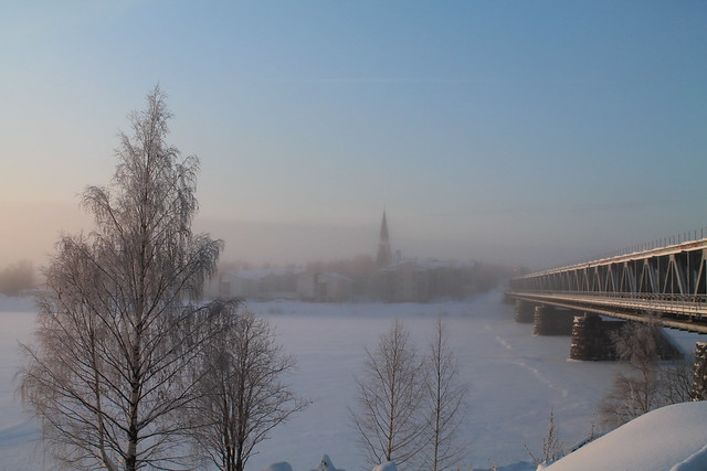 Rovaniemi, Fínsko, zima, sneh, most, bipolárna porucha