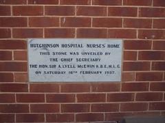 Hutchinson Hospital, Commemoration Stone, 16th February 1957.