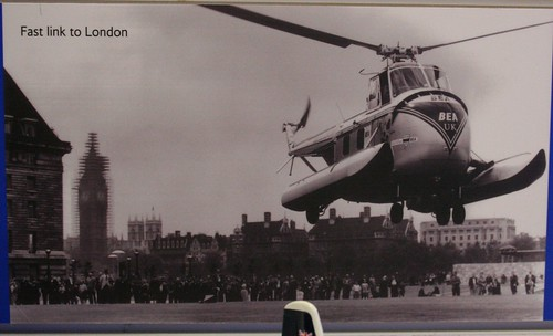 Helicopter landing at the BEA Air Terminal by Waterloo