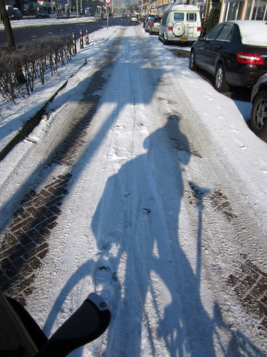 Snowy bicycle paths