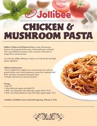 Jollibee Chicken and Mushroom Pasta
