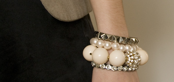 arm party!, bracelet stack, outfit blog, dash dot dotty, white and silver bracelets, baubles, stacked jewelry