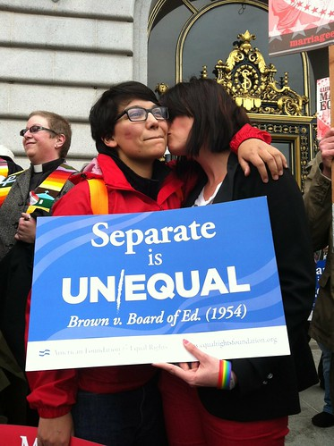 Monica Chacon & Breana Hansen on steps City Hall #prop8