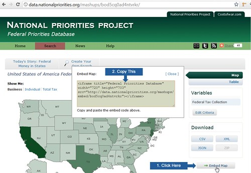 Federal Priorities Database: Embed Code