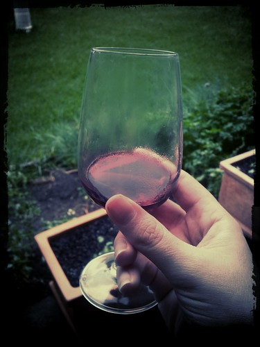 wine from a glass on band camp
