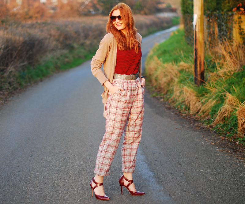 Check trousers, red t-shirt & burgundy heels