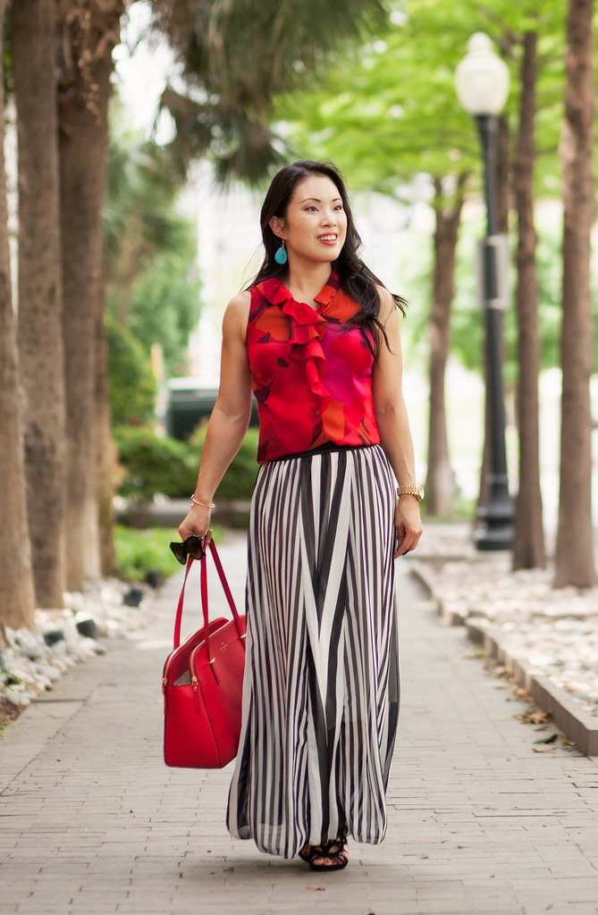 cute & little blog | petite fashion | red floral shell, tbdress striped maxi skirt | caged sandal | spring summer casual outfit