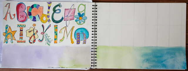 30 Days in My Art Journal: My Own Alpha - Outline & Watercolor 2 Page Spread