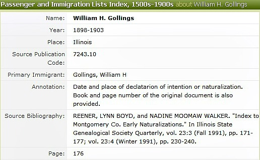 William Henry Gollings Naturalization