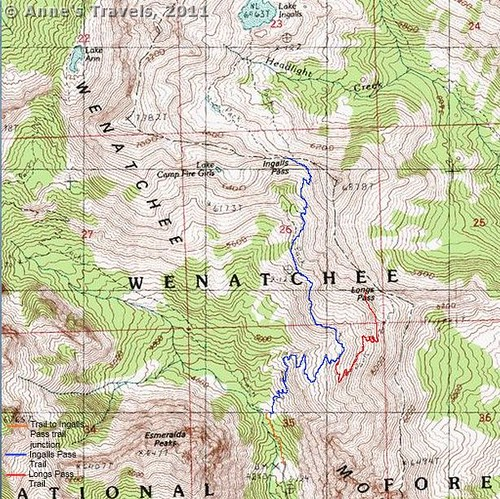 Map of the trail to Longs Pass, Okanogan-Wenatchee National Forest, Teanaway Area, Washington