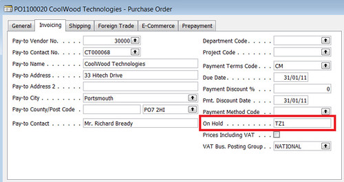 On Hold Field on Purchase Order Invoicing Tab