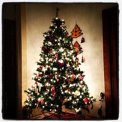 Sitting in front of the Christmas tree. One of my favorite things to do.