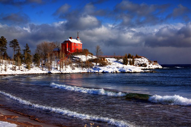 Sunny Winter Lighthouse, Marquette, MI (2009)