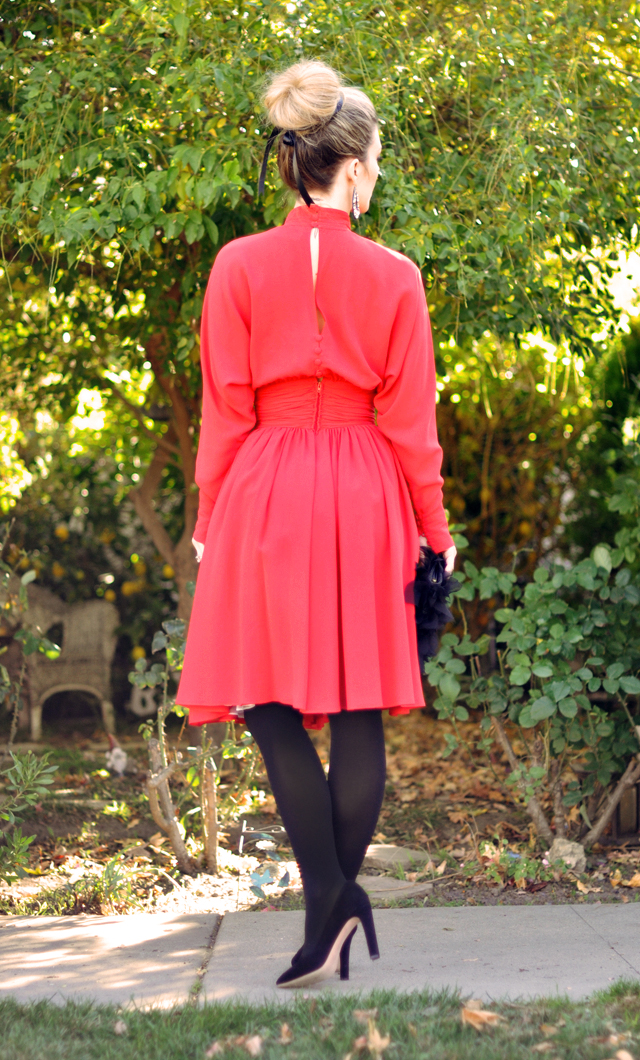 red dress and black tights - vintage lagerfeld dress
