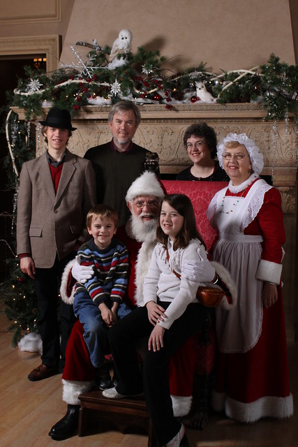 Michael Bates and family, Philbrook, 2011, with Santa and Mrs. Claus